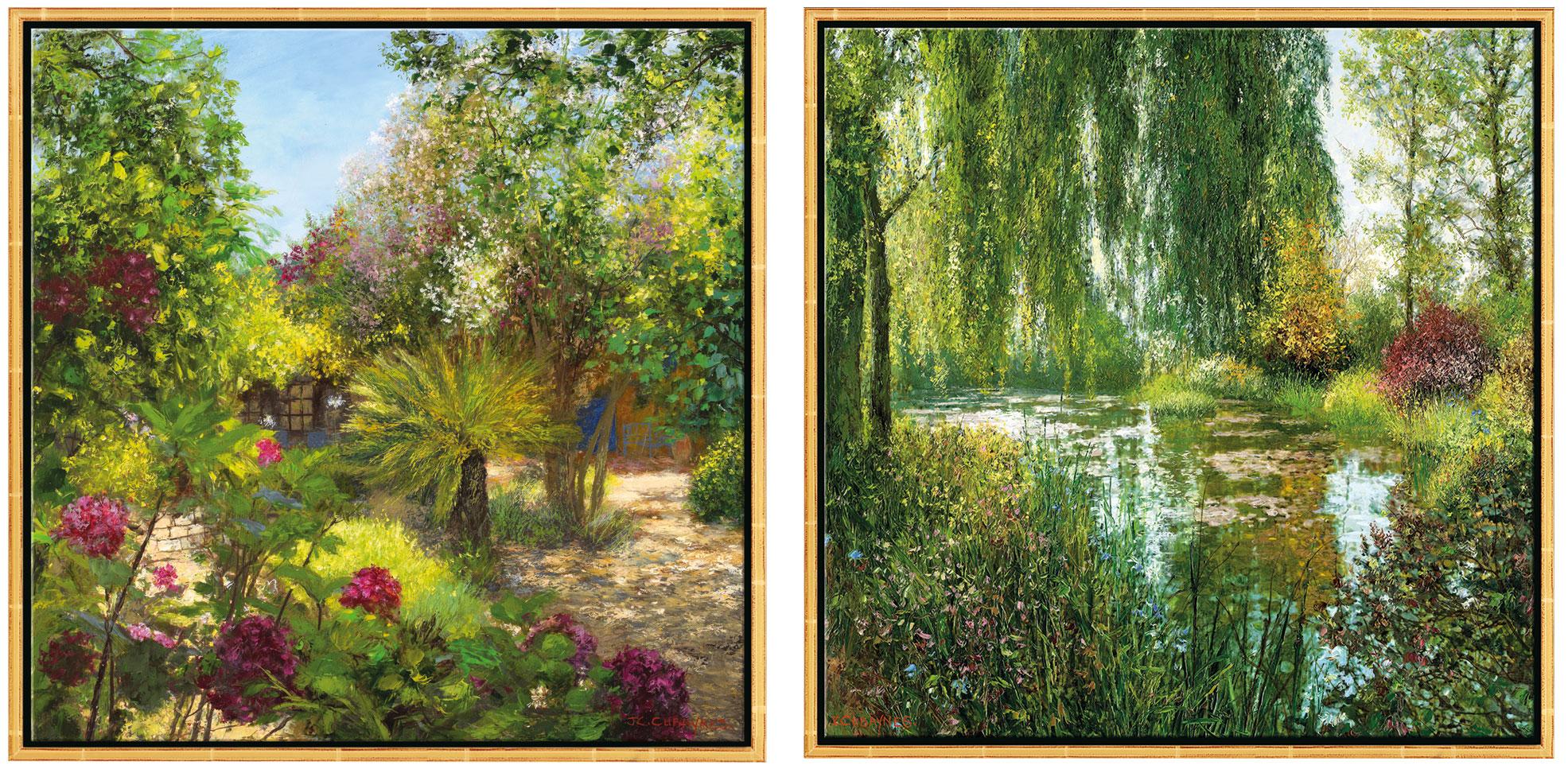 "2 Bilder ""Le Jardin, St. Tropez"" + ""Giverny le Soir"" im Set, Version goldfarben gerahmt"