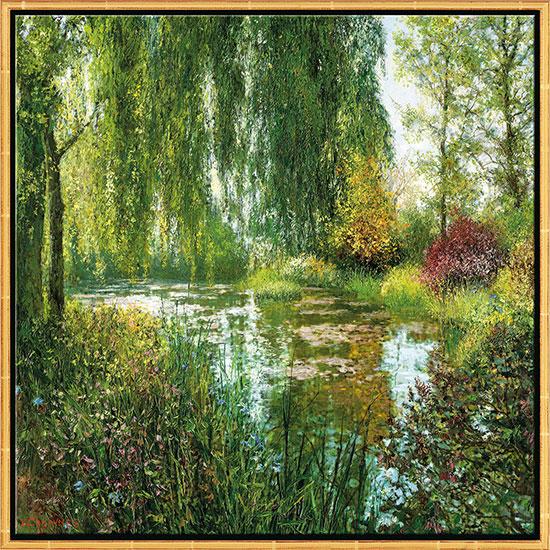 "Bild ""Giverny le Soir"", Version goldfarben gerahmt"