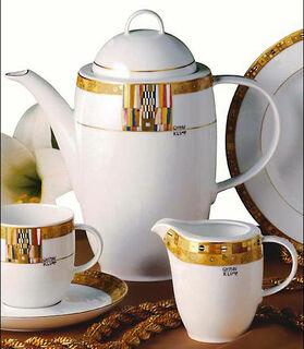 "Kaffeekanne ""Stoclet-Fries"", Porzellan mit Golddekor"