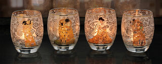 4 Teelichtgläser mit Künstlermotiven im Set