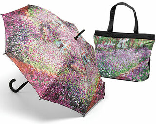 """Stockschirm und Tasche """"Irisbeet in Monets Garten"""""""
