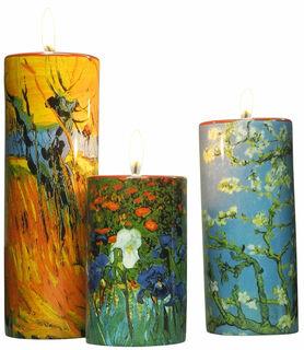 Drei Teelichthalter mit Künstlermotiven im Set, Porzellan