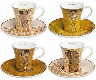 4 Espressotassen mit Künstlermotiven im Set, Porzellan