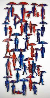"Wandskulptur ""Umbrellas"", Stahl"