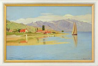 """Bild """"Der Hafen von Pully"""" (1891), gerahmt"""