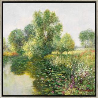 """Bild """"Der Garten von Giverny"""", Version silberfarben gerahmt"""
