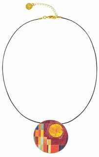 """Collier """"Burg und Sonne"""" mit Lederband - nach Paul Klee"""