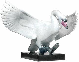 """Skulptur """"Landender Schwan"""" (Version mit Sockel), Bronze weiß/hellgrau"""