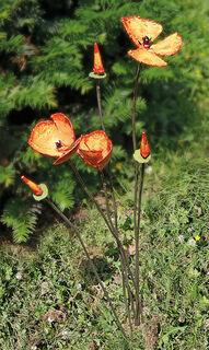 """Gartenstecker-Blumenset """"Orangefarbener Mohn"""", 6-teilig"""