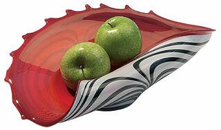 Glasschale rot-weiß (ohne Deko)