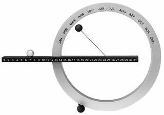Ewiger Kalender (kleine Version, 14 x 20 cm, silber/schwarz) - MoMA Kollektion - Design Gideon Dagan