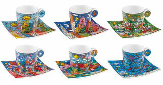 6 Espressotassen mit Künstlermotiven im Set, Porzellan
