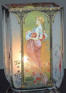 """Jugendstil-Teelicht """"Sommer"""", Glas"""