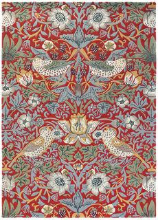"Teppich ""Strawberry Thief rot"" (140 x 200 cm) - nach William Morris"