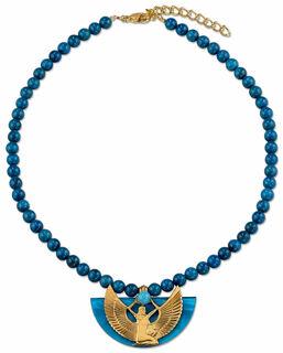 """Collier """"Isisschwinge"""" mit blauen Lapislazuli-Perlen"""