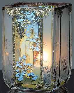 """Jugendstil-Teelicht """"Winter"""", Glas"""