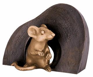 "Gartenskulptur ""Maus, sitzend"", Bronze"
