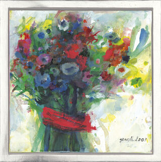 "Bild ""Blumenstrauß mit rotem Band"" (2003) (Unikat), gerahmt"