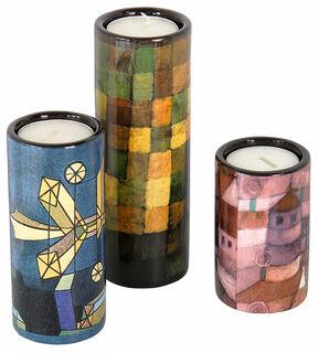 3 Teelichthalter mit Künstlermotiven im Set, Porzellan