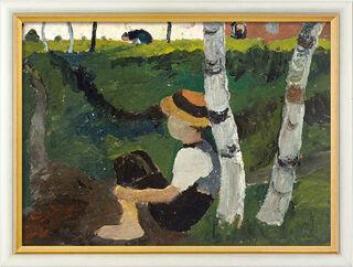 """Bild """"Knabe am Weg unter Birken"""" (1900), gerahmt"""