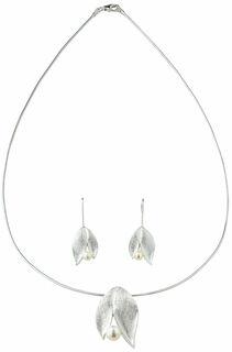 """Schmuckset """"Silver Leaf"""" mit Perlen"""