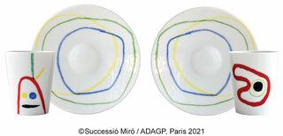 2 Tassen mit Untertassen von Bernardaud im Set, Porzellan