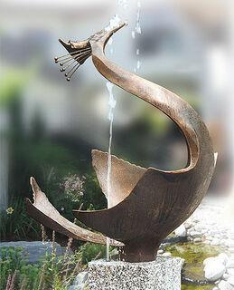"""Gartenskulptur / Wasserspeier """"Reiher"""", Bronze"""
